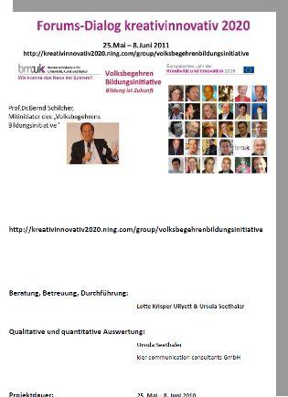 Deckblatt des Berichts Forumsdialog Bernd Schilcher